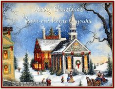 Merry Christmas from Our Home to Yours family animated past snow town gif illustration old fashion christmas greeting