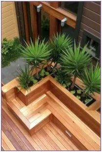 8 Best Deck Bench Seating Design Ideas For Your Backyard Outdoor Planters, Diy Planters, Outdoor Gardens, Concrete Planters, Outdoor Fountains, Water Fountains, Garden Fountains, Modern Front Yard, Front Yard Design