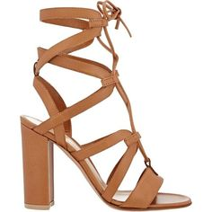 Gianvito Rossi Women's Lace-Up Gladiator Sandals ($499) ❤ liked on Polyvore featuring shoes, sandals, tan, laced up gladiator sandals, strappy lace up sandals, tan sandals, tan leather sandals and roman sandals