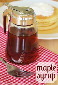 Maple Syrup ~ white sugar, water and maple extract! The only change I made was using 1 teaspoonful of maple extract instead of 1 1/2. Served this warm over homemade pumpkin pancakes, delicious!