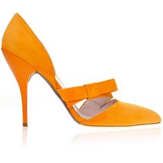 Oscar de la Renta Fauna Tangerine Bow Pump ($750) ❤ liked on Polyvore featuring shoes, pumps, heels, modaoperandi, oscar de la renta shoes, strappy shoes, pointy toe pumps, suede pumps and pointed toe shoes