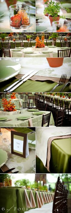 orange and green centerpieces for a fall wedding. use simple plants to add color.