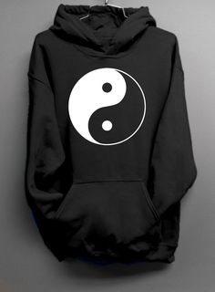 Yin Yang  Black Hoodie Sweatshirt by DentzDesign on Etsy, $29.00