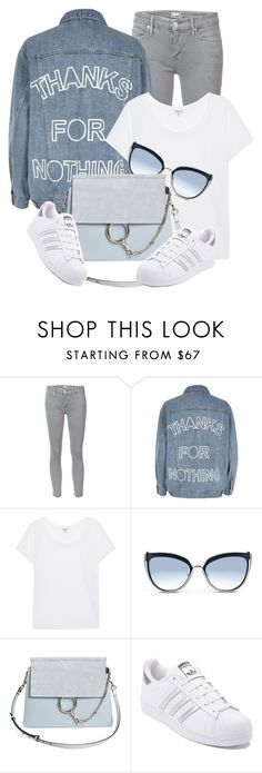 """""""Thanks For Nothing"""" by monmondefou ❤ liked on Polyvore featuring Mother, River Island, Splendid, Karl Lagerfeld, Chloé, adidas, white, denim and Blue"""