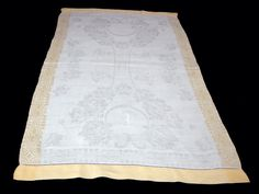 Vintage Irish Linen Mongram Guest Towel Yellow Trim with Roses and Butterflies #vintagelinen#teatowelirish
