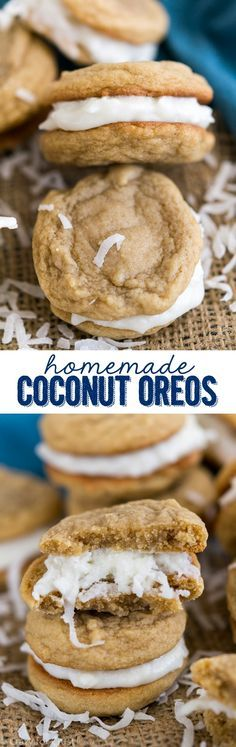 Homemade Coconut Oreos completely from scratch! Like a Golden Oreo copycat filled with coconut cream. They're easy to make at home!