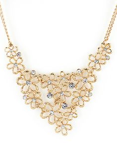 Gold Diamond Hollow Flower Necklace US$6.26