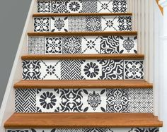 Pets Home : Stair Riser Vinyl Strips Removable Sticker Peel & Stick for 15 steps patchwork Tile Decals, Vinyl Decals, Vinyl Tiles, Stair Risers, Stair Steps, Kitchen Backsplash, Backsplash Ideas, Kitchen Flooring, Stairways