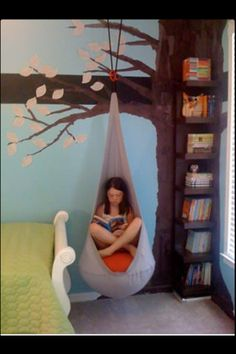 Tree bookshelves with swing chair