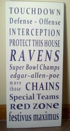 BALTIMORE RAVENS Football Word Art Typography Sign   SignsofElegance - Housewares on ArtFire