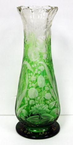 Rare Moser Intaglio Cut Glass Vase : Lot 248