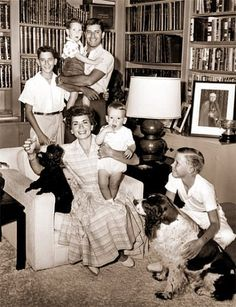 Jerry Lewis and his wife of 36 years, Patti, in the library with four of their sons (the couple would have six: Gary, Ron, Scott, Chris, Anthony and Joseph)