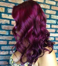 Red purple hair color with natural waves~ love this hairstyle so much