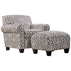 @Overstock - This Portfolio Home Furnishings Mira chair and ottoman features a transitional rounded arm design in a gray and ivory medallion pattern. The coordinating ottoman has a firm foam cushion that is perfect as a footrest or as an extra seat.  http://www.overstock.com/Home-Garden/Portfolio-Mira-Gray-and-Ivory-Medallion-Arm-Chair-and-Ottoman/5700359/product.html?CID=214117 $352.99