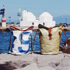 Hold-all bag made from sailcloth on the Greek island of Cyprus