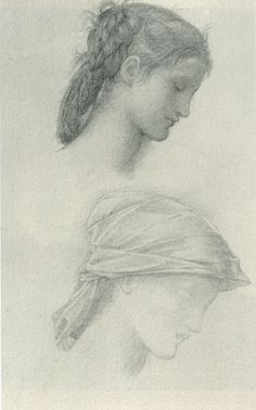 "luz-sonriente: "" Edward Colley Burne-Jones, Wheel of Fortune Two Head Studies (England, Pencil on white paper "" Life Drawing, Drawing Sketches, Art Drawings, Edward Burne Jones, Art Through The Ages, Sketches Of People, Landscape Concept, Wheel Of Fortune, Pre Raphaelite"