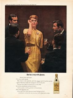 "1962 SEAGRAM'S EXTRA DRY GIN vintage magazine advertisement ""She has a way"" ~ She has a way with glasses  ~"