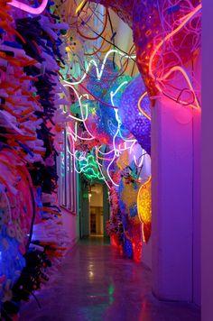 L'artiste d'origine roumaine Adela Andea, crée des installations lumineuses et colorées allant de l'oeuvre murale simple aux scénographies immersives. Ses pièces apparaissent comme des explosions de couleurs et de lumière qui se mélangent dans un chaos contrôlé.Adela Andea s'inspire de la nature comme la vie