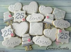 Sherwood Event Hall loves this 25th Anniversary Cookies!  They would be a great addition to an event here!  #atlanta #eventstyling #eventcompany #corporateevent #sherwoodeventhall #food #wedding #atlantawedding #atlantacatering #weddingideas #entertaining #atlantavenues #entertainment #partyideas #cateringdisplay #eventdecor #25thanniversary