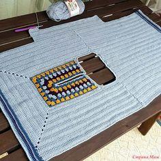 Fabulous Crochet a Little Black Crochet Dress Ideas. Georgeous Crochet a Little Black Crochet Dress Ideas. Crochet Hippie, Pull Crochet, Gilet Crochet, Crochet Shirt, Crochet Jacket, Crochet Cardigan, Crochet Granny, Crochet Yarn, Easy Crochet