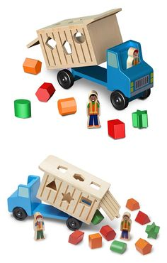 "Dump Truck: ""Drive"" home the building blocks of basic math skills with this multi-faceted shape sorter and wooden truck in one! The nine brightly-colored shaped wooden blocks fit into cut-outs on three sides of the dump truck, making a satisfying ""clunk"" as they land in the hardwood truck bed. Wheels roll smoothly to deliver the blocks anywhere. Lift the back door and tilt the container to dump the blocks and start again!"