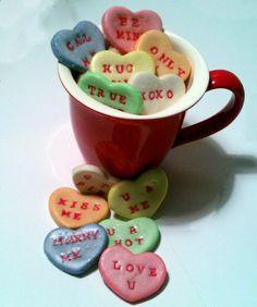 Valentines Conversation Heart Salt Dough Bowl Fillers. $15.00, via Etsy.