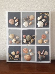 Tableau coquillages et feutrine Sea Crafts, Diy Home Crafts, Creative Crafts, Arts And Crafts, Seashell Art, Seashell Crafts, Seashell Projects, Shell Decorations, Driftwood Art