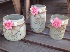 Set of Three Gray Mason Jars, Bathroom Decor, Shabby Chic Mason Jars, Rustic Mason Jars, Mason Jars, Painted Mason Jars, Distressed Jars by Lorettescottage on Etsy