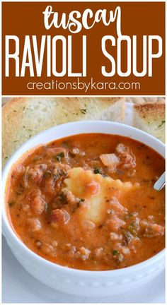 Recipe for hearty and delicious Ravioli Tuscan Soup. Easy and delicious! #tuscansoup #raviolisoup #raviolituscansoup #souprecipe #creationsbykara