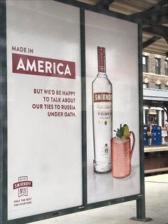 Smirnoff Vodka Aims Top Shelf Snark at Probe of Trump Team Russia Ties Advertising Campaign, Marketing And Advertising, Vodka Recipes, Drunk Humor, Guerilla Marketing, Smirnoff, N21, Creative Advertising, Ad Design