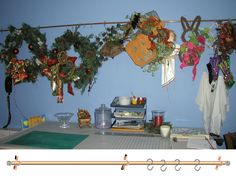 """Storage for Wreaths for all seasons. Supplies: 1 10' x 1"""" copper pipe - If you use less than 1"""", the pipe will bow . 2 Rubber end caps. 3 or 4 Copper-Plated Pipe Strap - Use 4 straps if you are concerned that the sheetrock will hold the weight. 6 or 8 rubber washers - Use washer between the wall and the pipe strap to give clearance for the s hooks. 6 or 8 Molly bolt screws – strong enough and appropriate to the type of wall you will attach the pipe to hold the weight of the wreaths. 10+/- S…"""