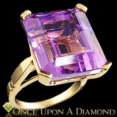 18.50ct Emerald Cut Natural Amethyst Solitaire Cocktail Ring 14K Yellow Gold