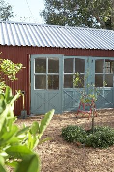 maybe I could paint the brick a worn turquoise to go with the tin & the red roof. Farm Cottage, Cottage Style, Patina Farm, Tin Shed, Chicken Garden, Colorado, Barn Lighting, Eco Friendly House, The Ranch