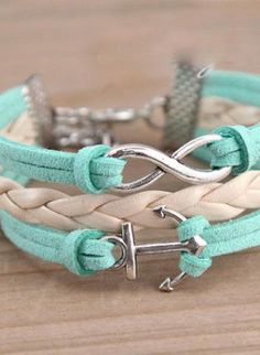 Teal/Turquoise Cuff - Teal and White Anchor Rope