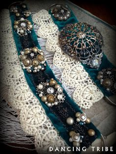 Tribal Fusion Belt Professional Bellydance Belt Tribal belly Dance Belt Tribal Fusion Costume Cosplay Gypsy White Fringe Silver Teal Antique