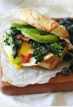 Great!!!! Bread + salted spinach & avocado + egg  + mozzarella & monterrey jack cheese