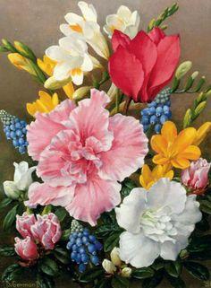 Jan Voerman jr. (Dutch, 1890-1976) - Flowers, oil on canvas, 23,5 x 18 cm. 1951.