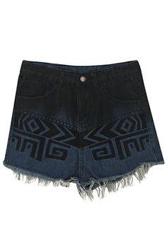 Geometric Pattern Embroidered Blue Shorts #Romwe