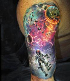 Futuristic style multicolored astronaut in deep space half sleeve tattoo