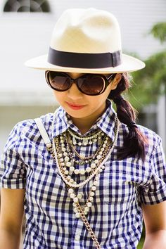 pearls + gingham + hat