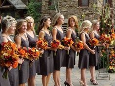Pewter dresses with orange flowers - not a fan of the orange flowers and I would want the dresses longer, but love the neckline and style