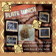 Every Friday and Saturday we have Plate Lunches. Your choice of meat (pork adobo, kalua pork, shoyu chicken, beef stew) with a side of macroni salad and rice. Hawaiian Plate Lunch, Kalua Pork, Lunches, Stew, Rice, Friday, Salad, Plates, Meat