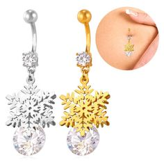 18K-Gold-Plated-Zirconia-Navel-Body-Piercing-Jewelry-Snowflake-Belly-Button-Bars