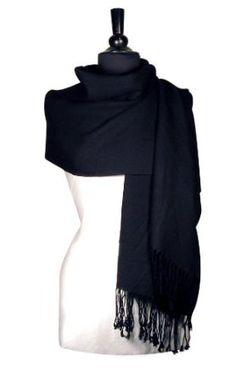 100% Pashmina BLACK Shawl Wrap. Woman`s Scarf. $10.28
