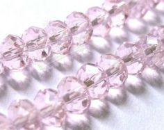 99pcs 6mm Baby Pink Faceted Rondelle Crystal Glass Beads