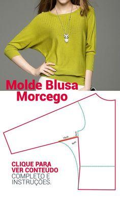 441c8a49d3 FAÇA SEUS MOLDES SIMPLES E MUITO FÁCIL ! MOLDE BLUSA MANGA MORCEGO. Fair  dress template