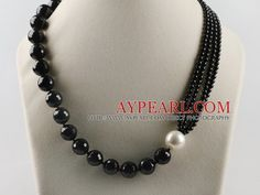 shell beads necklace | ... Necklace > faceted black agate and white sea shell bead necklace with