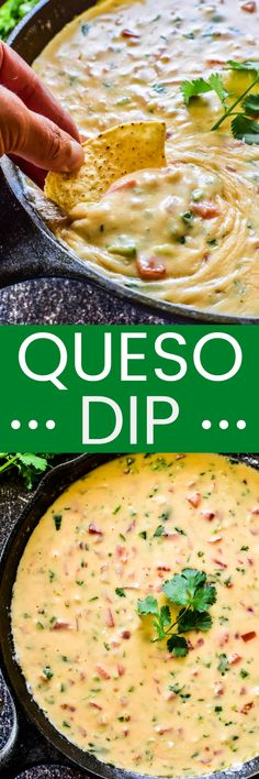 The BEST Queso Dip! This easy recipe comes together in minutes and is a party favorite. Enjoy it as a dip for tortilla chips or try it as a topping for homemade nachos. Either way... it's guaranteed to be a hit!