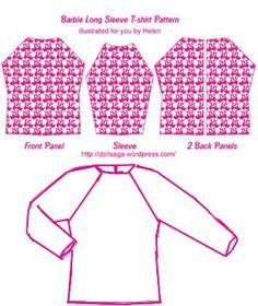 DIY –T Shirt Pattern For Barbie « Helen's Doll Saga Many of my friends loved the pictures of the t-shirts I posted yesterday. here is the pattern I offer you to try it yourself. you will need to adjust the sizes based on the types of materials you u… Sewing Barbie Clothes, Barbie Sewing Patterns, Doll Dress Patterns, Sewing Dolls, Clothing Patterns, Shirt Patterns, Pattern Sewing, Pants Pattern, Sewing Coat