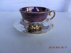 xicara de chá porcelana schimidt - detalhes em ouro